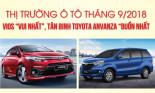 """Thị trường ô tô tháng 9/2018: Vios """"vui nhất"""", tân binh Toyota Anvanza """"buồn nhất\"""""""