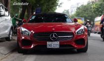 """Bắt gặp """"hàng hiếm"""" Mercedes-AMG GTS màu đỏ biển số Campuchia tại Thủ đô"""