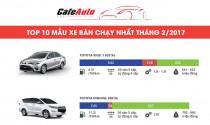 Infographic: Top 10 xe bán chạy nhất tháng 2/2017