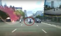 TP.HCM: Qua đường không quan sát, người lái xe máy bị húc văng