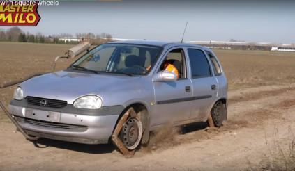 Choáng với chiếc xe sử dụng bánh vuông