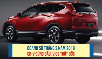 Doanh số tháng 2 năm 2019: CR-V đứng đầu, Vios tuột dốc